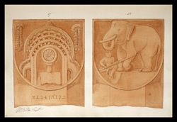 Two drawings of sculpture on the stupa rail at Bodhgaya (Bihar), made by Kittoe during his investigation of the site. January 1847. 14